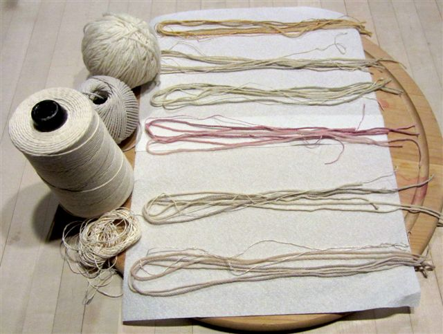 The dyes turned plain white wool yarn and cotton twine into lovely soft colors.