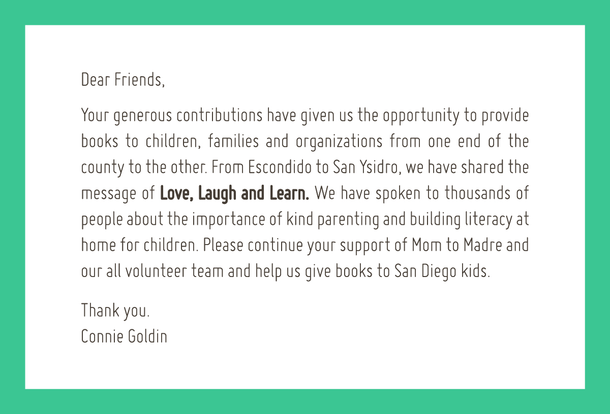 Thank You from Connie Goldin