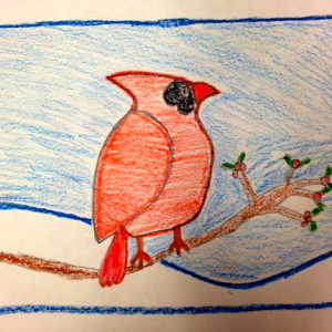 Crayon Cardinal by 10-Year-Old