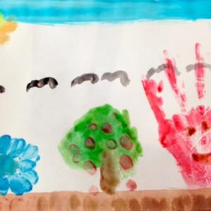 Handprint Landscape by Elementary Student