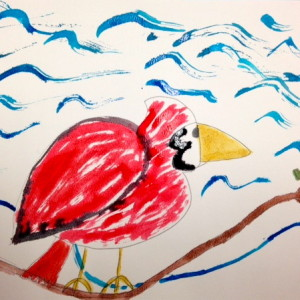 Cardinal with Waves by Elementary Student