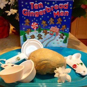 Read, count, measure, and smell gingerbread, with this counting book and play dough recipe.
