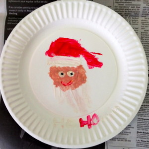 A Santa Handprint Touched Up With Brush