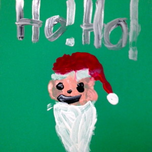 """Paint  a """"Hand Print"""" Santa with your child. This one is by a child in grade school."""