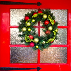 A Festive wreath at the door is welcoming!