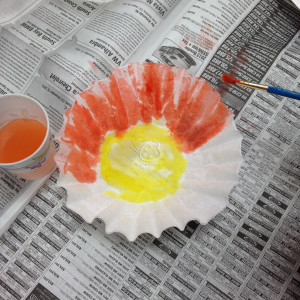Beautiful Flower on Coffee Filter with Homemade Colors