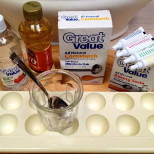Our Ingredients--Soda, Vinegar, Cornstarch, Corn Syrup, Food Colors