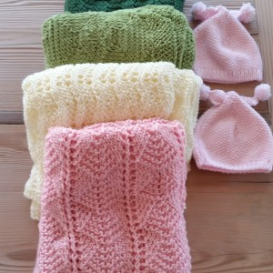 Pink and Green Layette Items