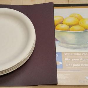 Watercolor, Construction Paper,  Paper Plates