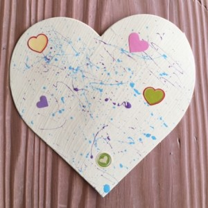 Splatter and Hearts on Pale Green