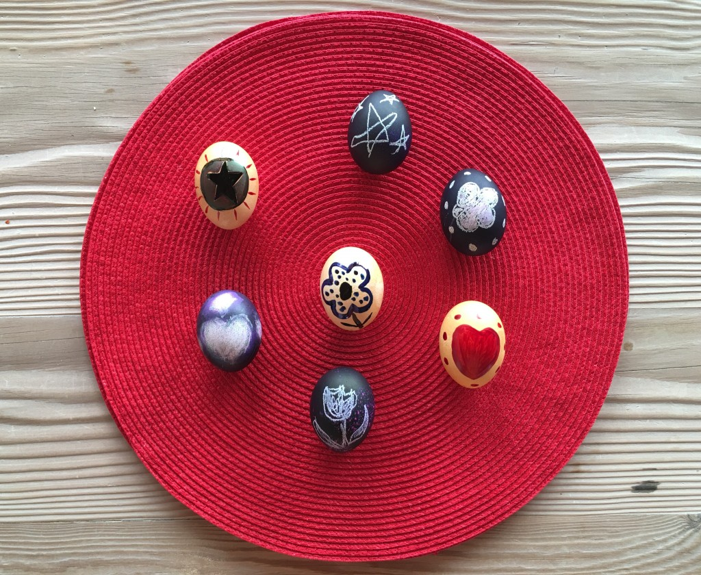Amish Eggs on Red Mat