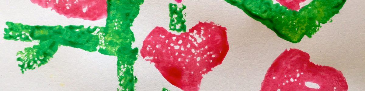 Hearts and Flowers Sponge Art