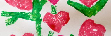 Hearts and Flowers Sponge Art