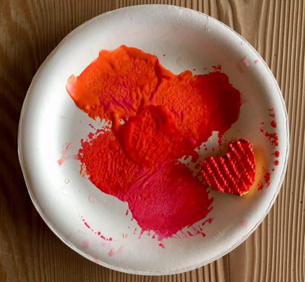 Sponge Heart Dipped in Paint